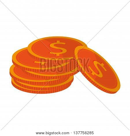 moeny coin pile business finance isolated vector illustration