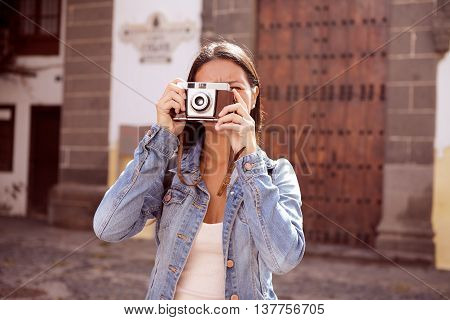 Girl Focusing On Taking A Picture