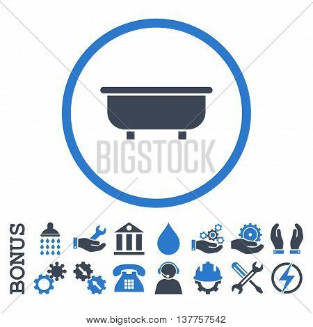 Bathtub vector bicolor icon. Image style is a flat pictogram symbol inside a circle, smooth blue colors, white background. Bonus images are included.