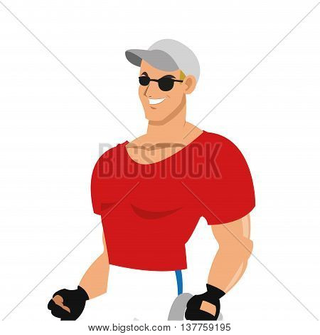 flat design man with fitness outfit wearing sunglasses hat and gloves icon vector illustration