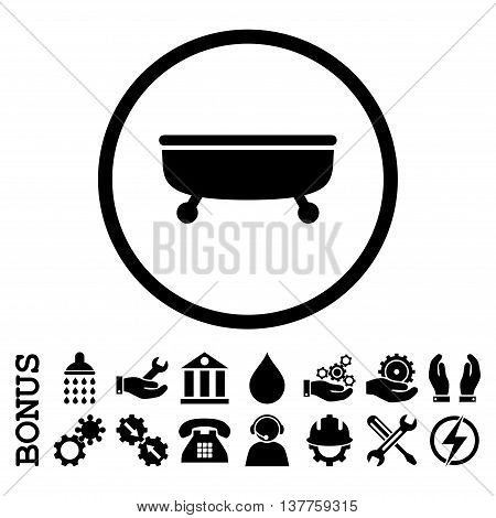 Bathtub vector icon. Image style is a flat pictogram symbol inside a circle, black color, white background. Bonus images are included.