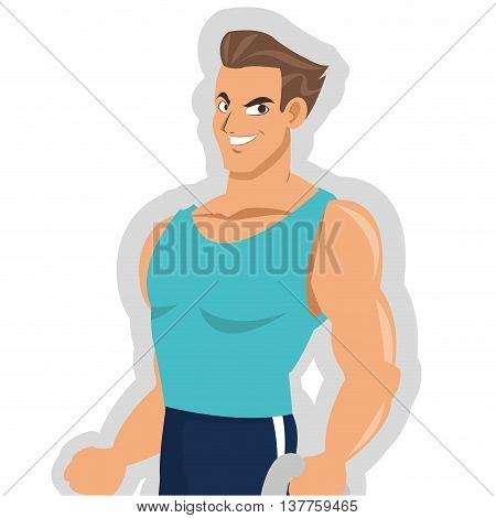 flat design man with fitness outfit icon vector illustration