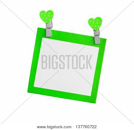 Blank green paper isolated use for insert text isolated on white background.