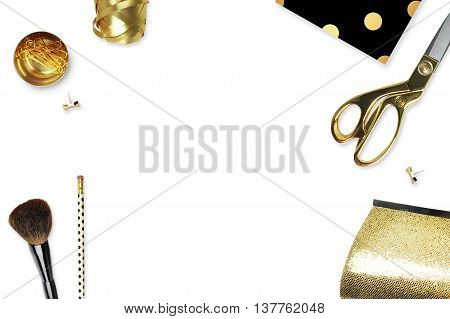 Black and Gold. Flat lay. Glamour style. Polka dots patterns. Table view. Mock-up background.Table view office items