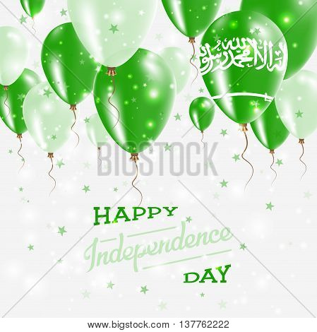 Saudi Arabia Vector Patriotic Poster. Independence Day Placard With Bright Colorful Balloons Of Coun