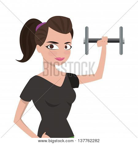 flat design woman with fitness outfit lifting dumbbell icon vector illustration