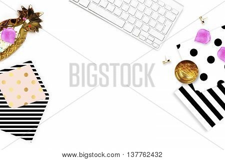Header website or Hero website, Table view office items, white background mock up, woman desk. black pattern, polka and stripe.