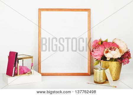Picture frame with decorations. Mock up for your photo or text Place your work, print art,shabby style, white background,