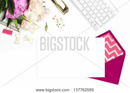 Wedding background. Mock-up for your photo or text Place your work. Woman desktop template card Peonies and gold stationery. Gold Polka. Header website or Hero website