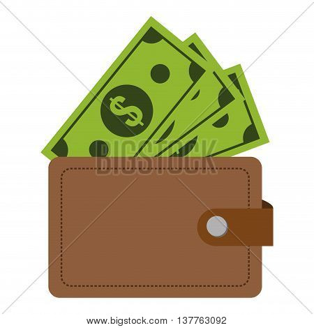 flat design wallet with dollar bills icon vector illustration