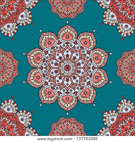 Seamless floral oriental pattern in shades of red, pale blue & pale yellow on teal green background.