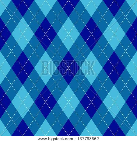 Seamless argyle pattern in navy blue, cerulean blue & soft cyan with white stitch.