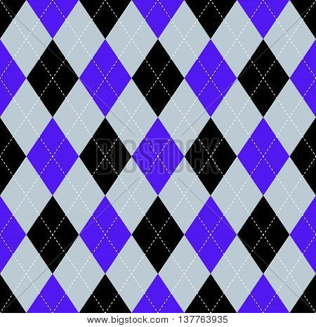 Seamless argyle pattern in indigo purple, light grayish blue & black with white stitch.