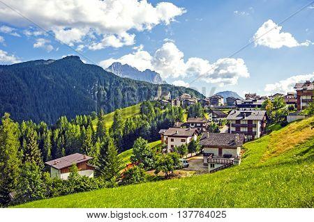 Town of Colle Santa Lucia, Dolomites, Italian Alps