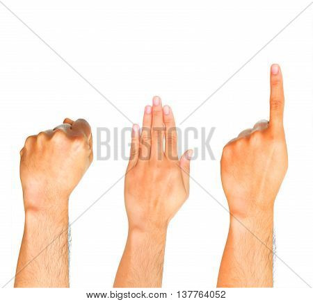 Group of hand showing fist on white background.