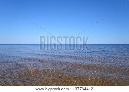 Ladoga lake at sunny day the Karelian Isthmus.