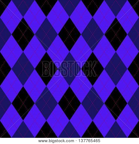 Seamless argyle pattern in dark midnight blue, black and indigo purple with pink stitch. Traditional checkered textile print for jerseys, sweaters, polo shirts, golf & yachting sports uniforms.