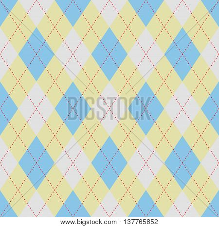 Seamless argyle pattern in light blue, pale yellow & white with red stitch. Traditional checkered/diamond textile design for jerseys, sweaters, polo shirts, golf sport uniforms.
