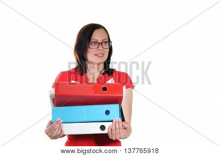 Young business woman with pile of ring binder