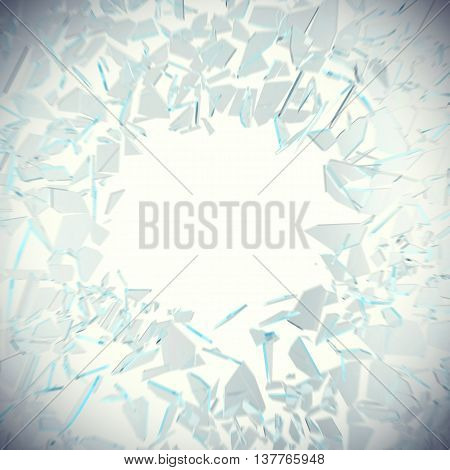 Abstract broken glass into pieces isolated on white background with place for text, 3d illustration