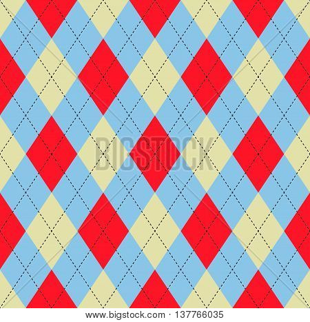 Seamless argyle pattern in light blue, pale yellow & bright red with black stitch.