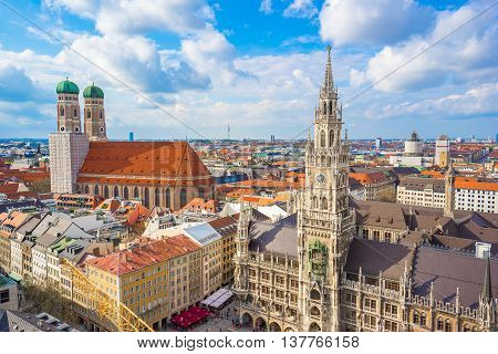 Aerial View Of Marienplatz Town Hall And Frauenkirche In Munich, Germany