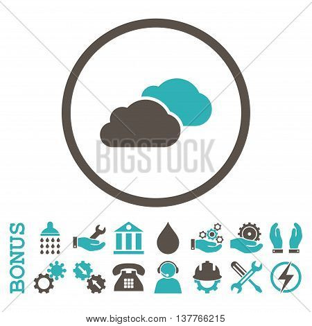 Clouds glyph bicolor icon. Image style is a flat pictogram symbol inside a circle, grey and cyan colors, white background. Bonus images are included.