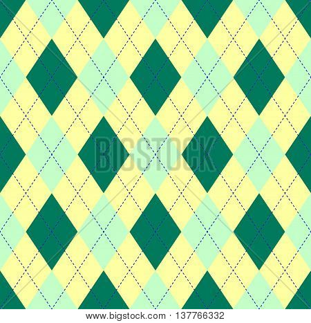 Seamless argyle pattern in dark green, pale yellow & pale green with blue stitch. Classic diagonal checkered textile print for golf wear design, jerseys, sweaters and socks.