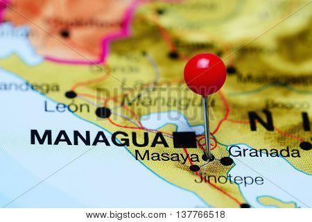 Masaya pinned on a map of Nicaragua
