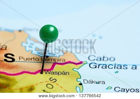 Waspan pinned on a map of Nicaragua
