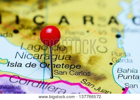 San Carlos pinned on a map of Nicaragua