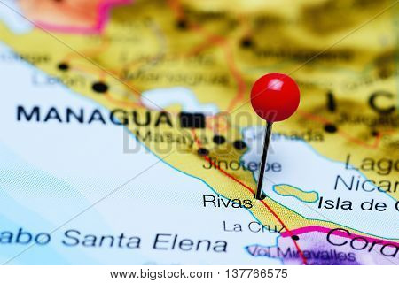 Rivas pinned on a map of Nicaragua