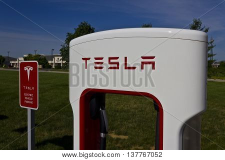 Lafayette IN - Circa July 2016: Tesla Supercharger Station. The Supercharger offers fast recharging of the Model S and Model X electric vehicles VI