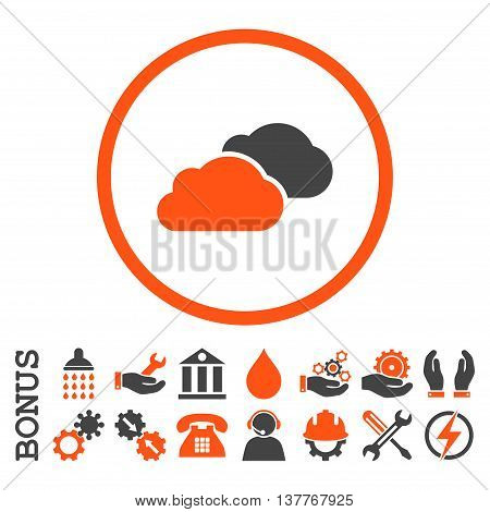 Clouds glyph bicolor icon. Image style is a flat pictogram symbol inside a circle, orange and gray colors, white background. Bonus images are included.