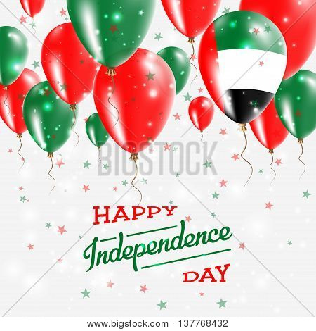 United Arab Emirates Vector Patriotic Poster. Independence Day Placard With Bright Colorful Balloons