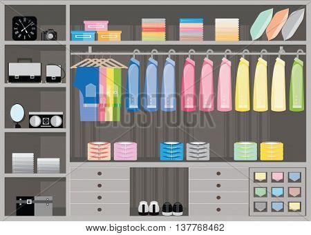 Flat Design walk in closet interior design Clothing store Boutique indoor of men's cloths Vector illustration.