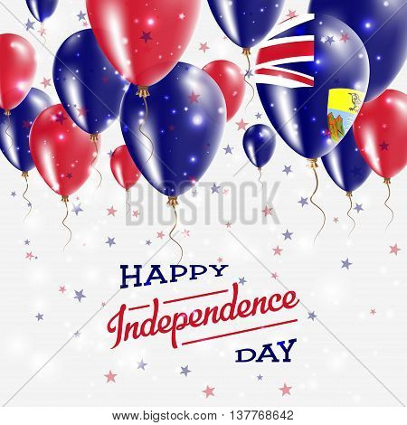 Saint Helena Vector Patriotic Poster. Independence Day Placard With Bright Colorful Balloons Of Coun