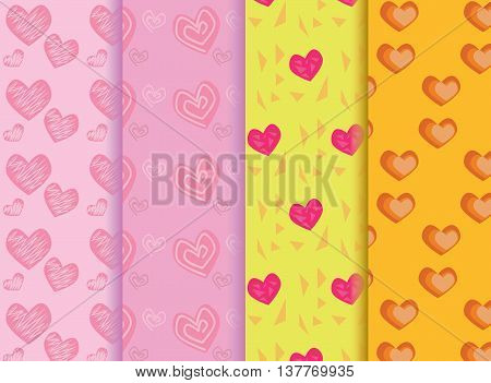 seamless set heart patterns color full .