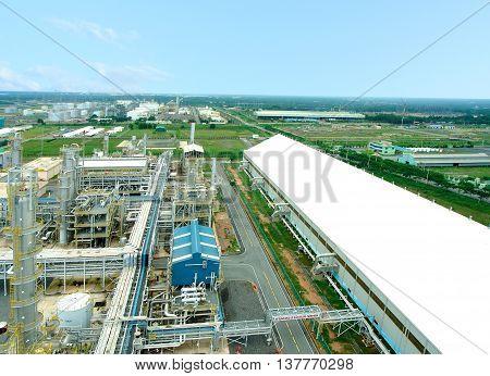 QUANG NGAI, Vietnam, April 18, 2015 the Dung Quat oil refinery, the city, Quang Ngai, Central, Vietnam