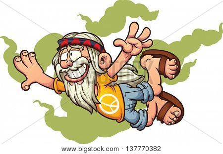 Flying cartoon hippie. Vector clip art illustration with simple gradients. Hippie and smoke on separate layers.