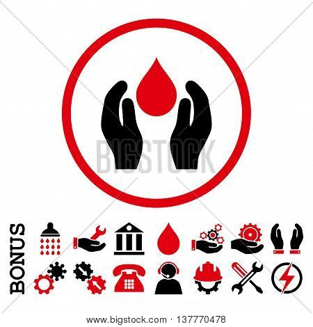 Water Care glyph bicolor icon. Image style is a flat pictogram symbol inside a circle, intensive red and black colors, white background. Bonus images are included.