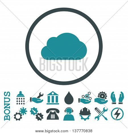 Cloud glyph bicolor icon. Image style is a flat pictogram symbol inside a circle, soft blue colors, white background. Bonus images are included.
