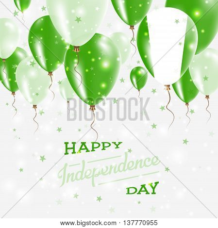 Nigeria Vector Patriotic Poster. Independence Day Placard With Bright Colorful Balloons Of Country N