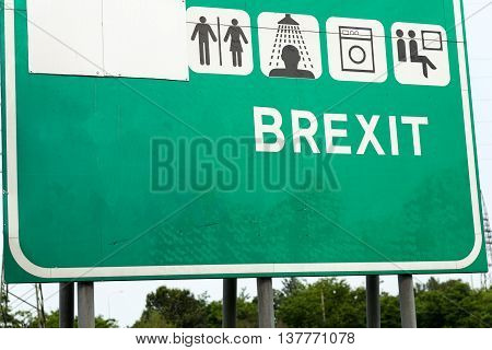 Brexit Concept Illustrated By A Highway Sign