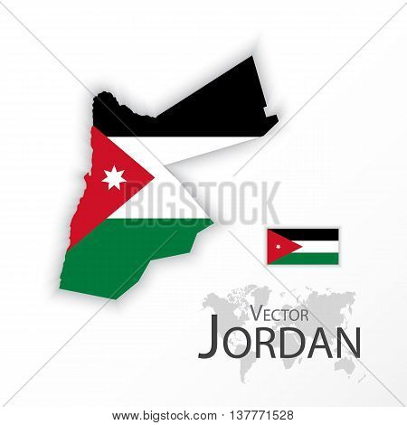 Jordan ( Hashemite Kingdom of Jordan ) ( flag and map ) ( transportation and tourism concept )