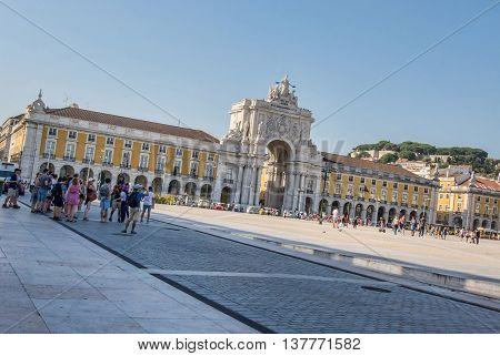 Lisbon. Portugal. 07 of July 2016 View of the Terreiro do Paço Praca do Comercio in Lisboa Portugral. photography by Ricardo Rocha.