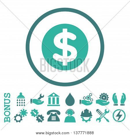 Finance glyph bicolor icon. Image style is a flat pictogram symbol inside a circle, cobalt and cyan colors, white background. Bonus images are included.
