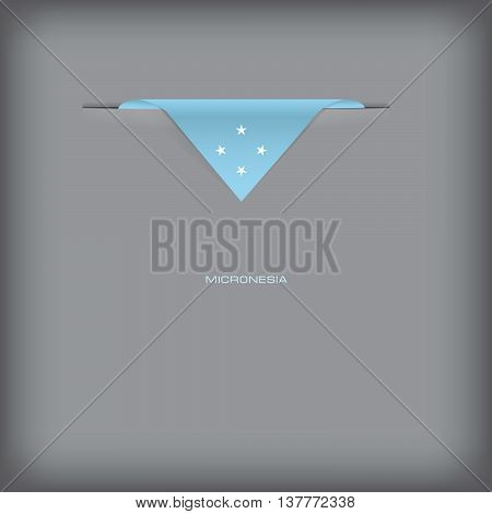 Banner with stylized Micronesia flag. Vector illustration.