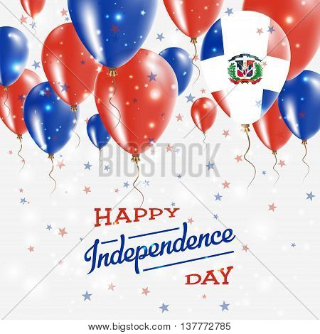 Dominican Republic Vector Patriotic Poster. Independence Day Placard With Bright Colorful Balloons O