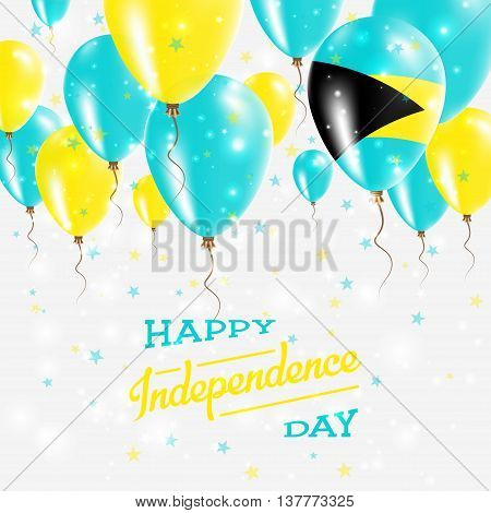 Bahamas Vector Patriotic Poster. Independence Day Placard With Bright Colorful Balloons Of Country N